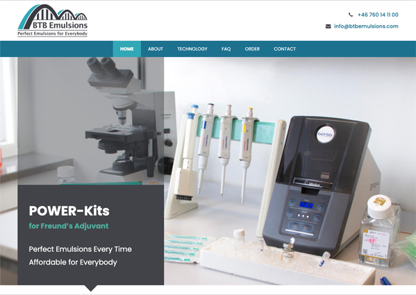 BTB Emulsions' HomePage Up And Running